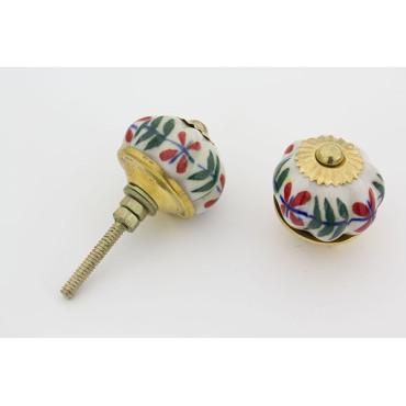 Lille hvid porcelænsknop med mønster og guld top