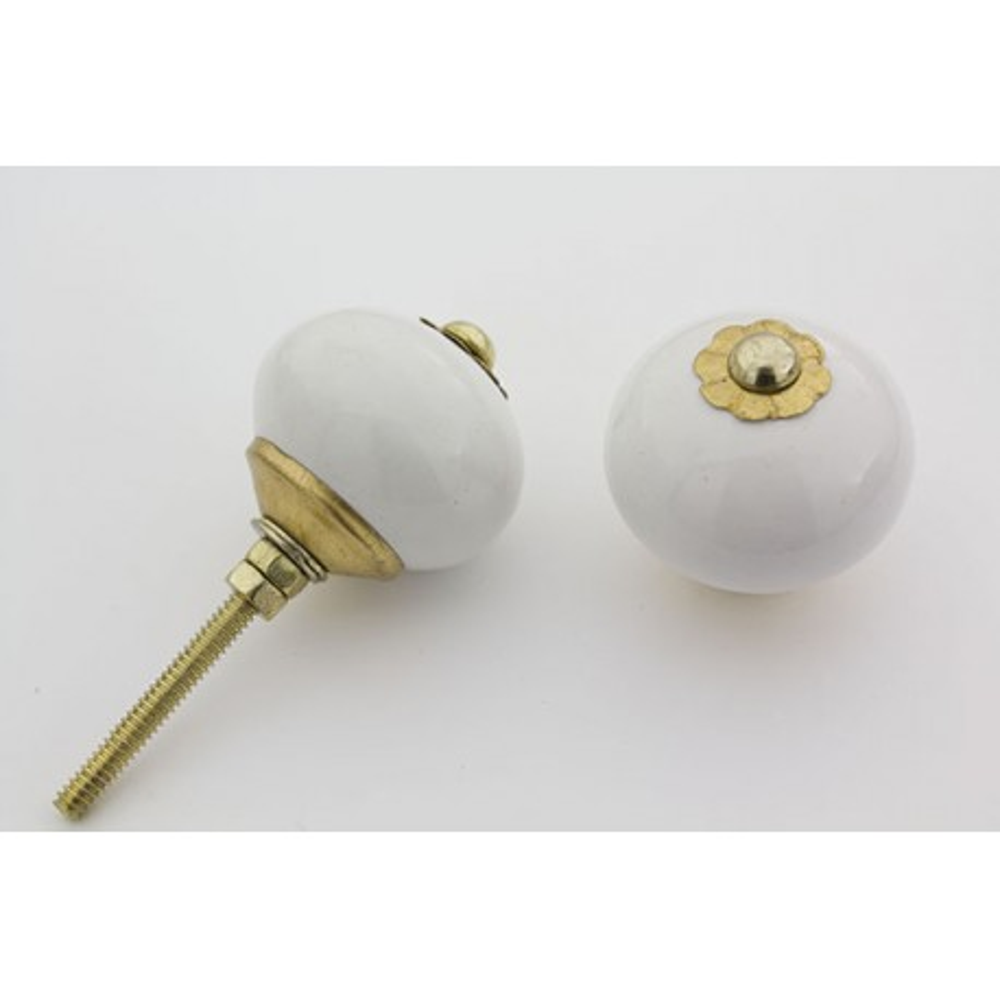 Hvid rund håndmalet porcelænsknop med guld top