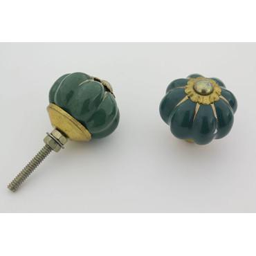 Lille grøn håndmalet porcelænsknop med guld i riller