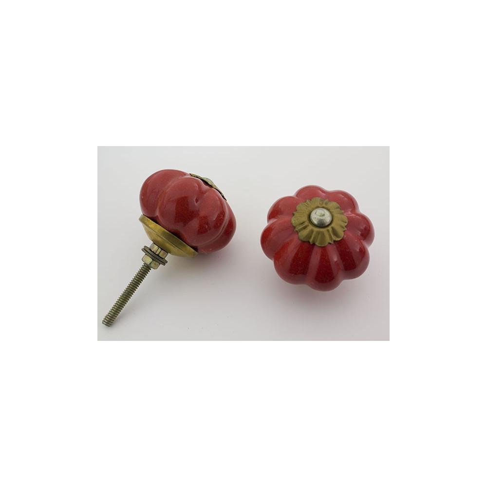 Almue rød håndmalet porcelænsknop med guld top
