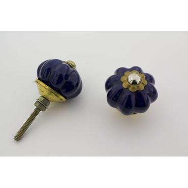 Lille mørk blå håndlavet porcelænsknop med guld top