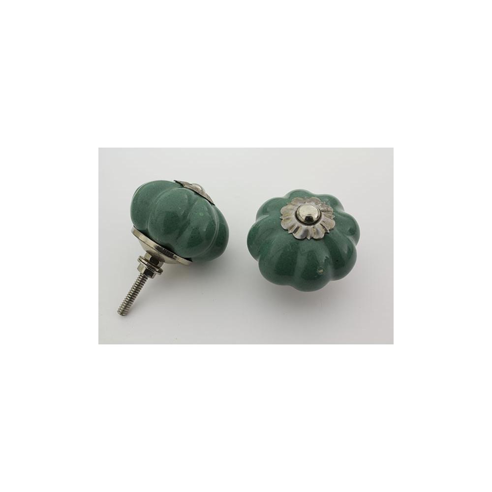 Almue grøn håndmalet porcelænsknop med sølv top
