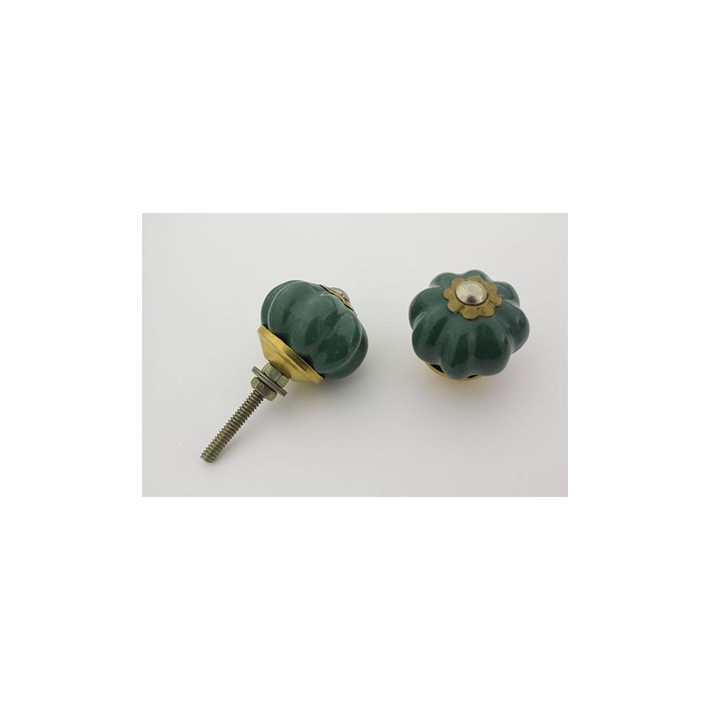 Lille almue grøn håndlavet porcelænsknop med guld top