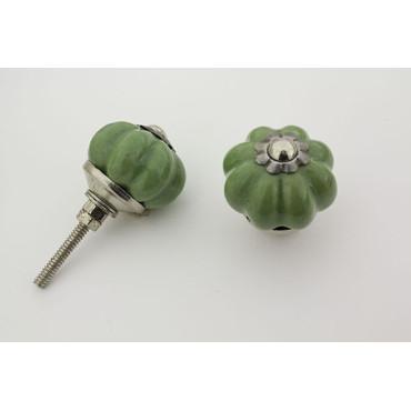 Lille lys almue grøn håndmalet porcelænsknop med sølv top