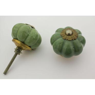 Lys almue grøn håndlavet porcelænsknop med guld top