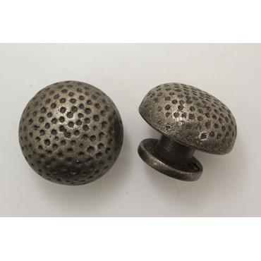 Antik zink knop med prikker - Ø 40x30