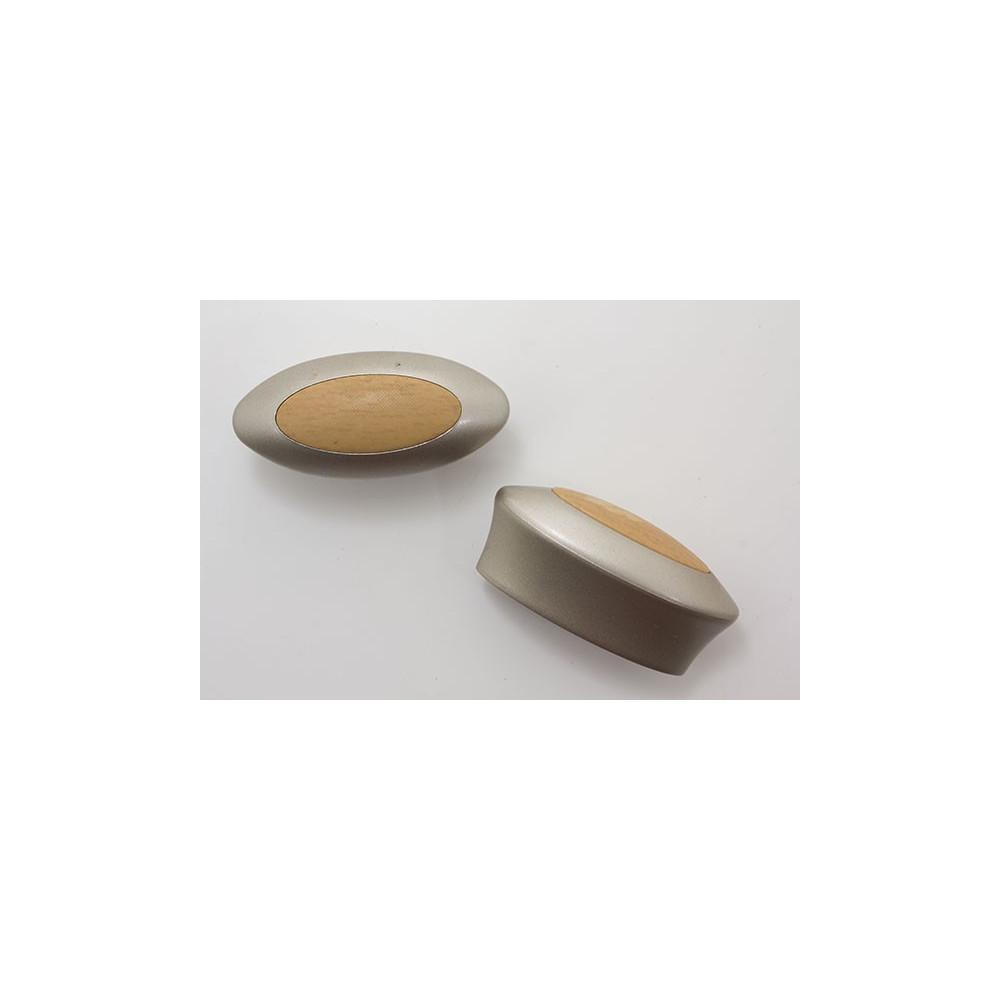 Oval møbelknop i plastik med træ