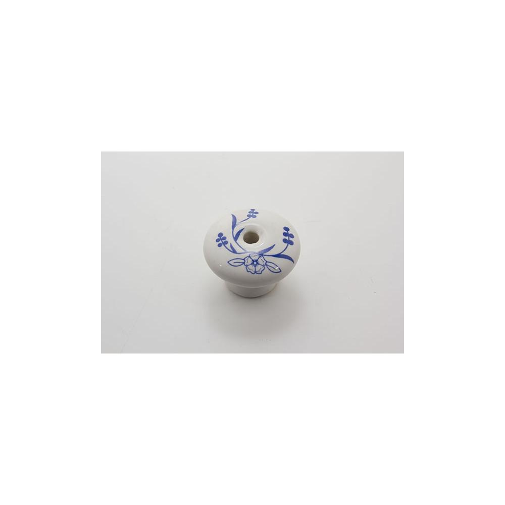 Porcelænsknop med blå blomst og blade