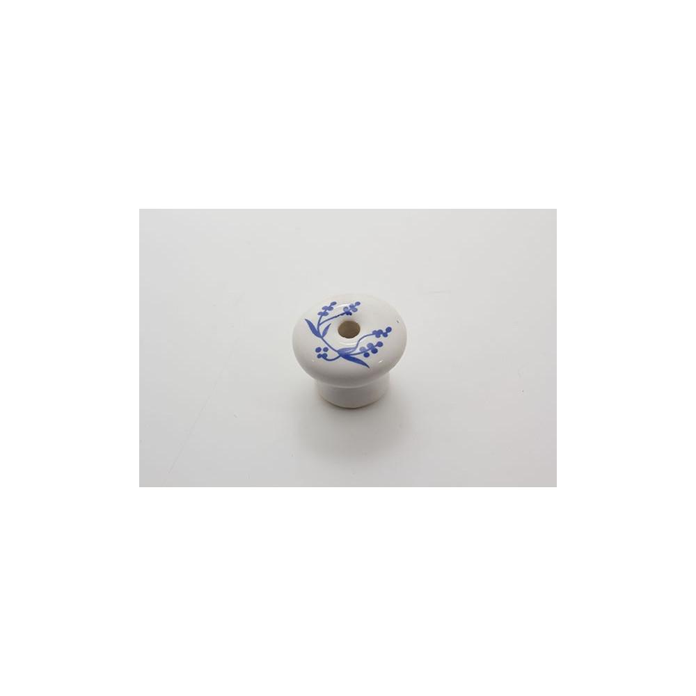Mellem porcelænsknop med blå blade