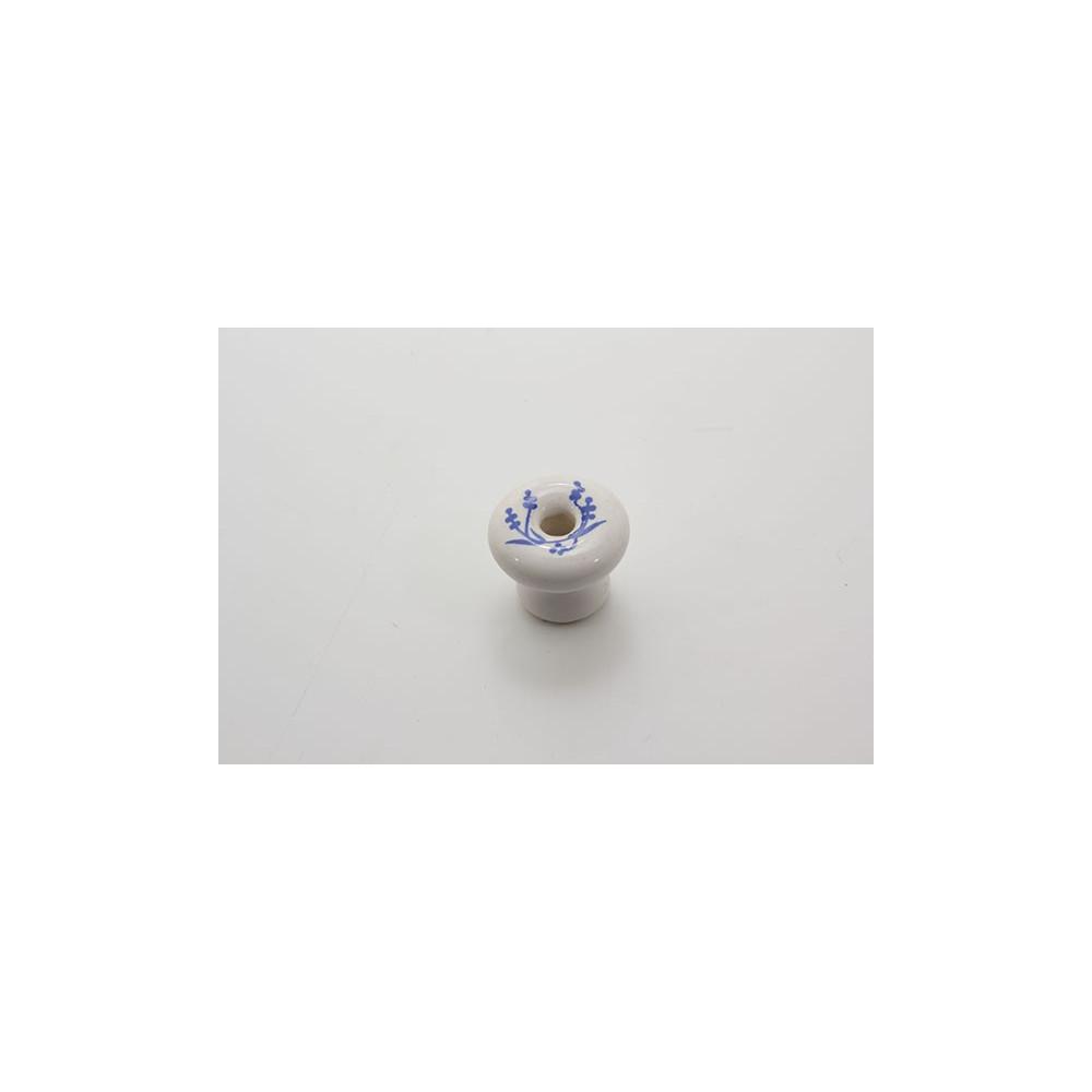 Lille porcelænsknop med blå blade