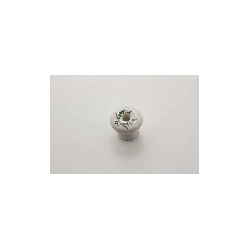 Lille porcelænsknop med grønne blade