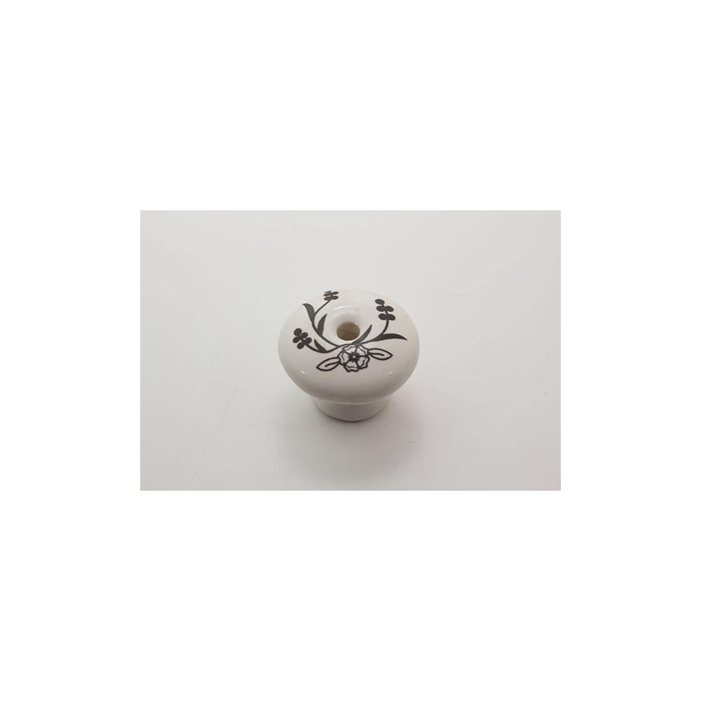Stor porcelænsknop med sort blomst og blade