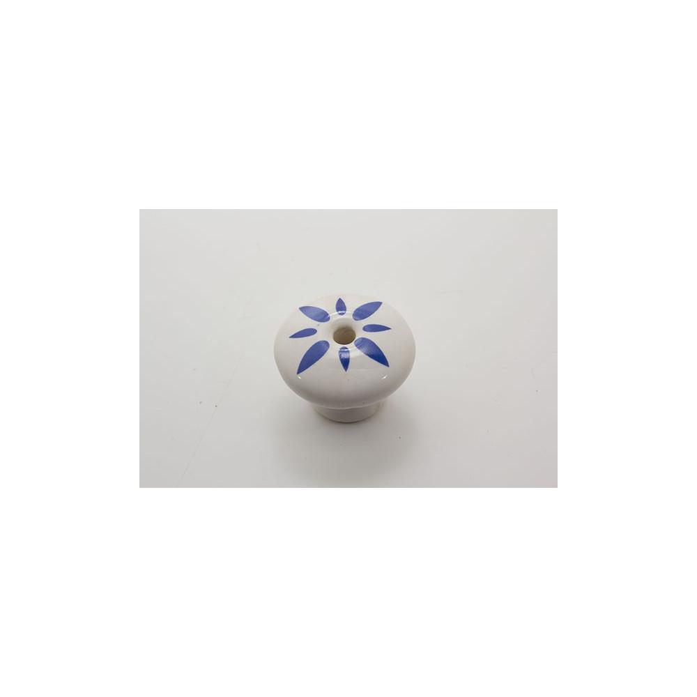 Porcelænsknop med blåt mønster