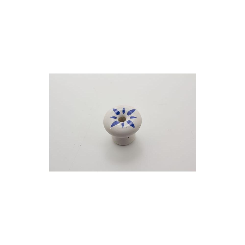 Mellem porcelænsknop med blåt mønster