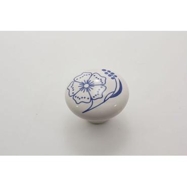 Stor porcelænsknop med blå blomst