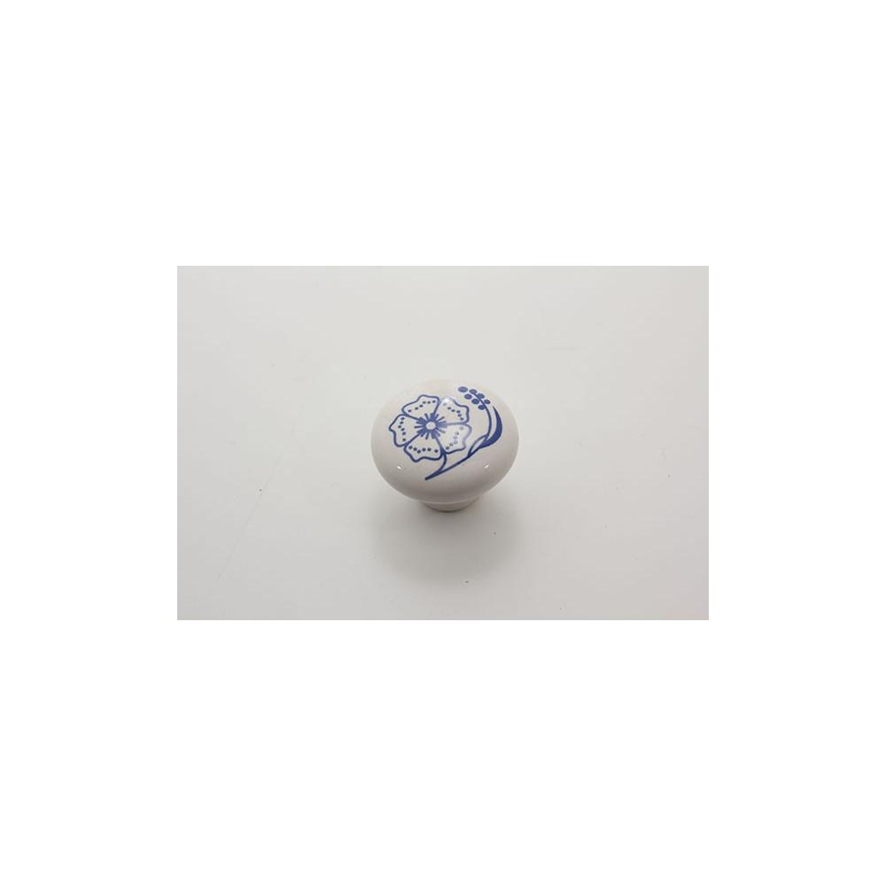 Mellem porcelænsknop med blå blomst