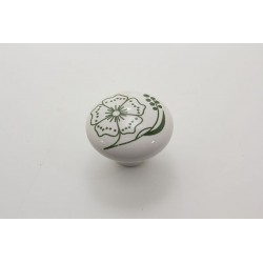 Stor porcelænsknop med grøn blomst