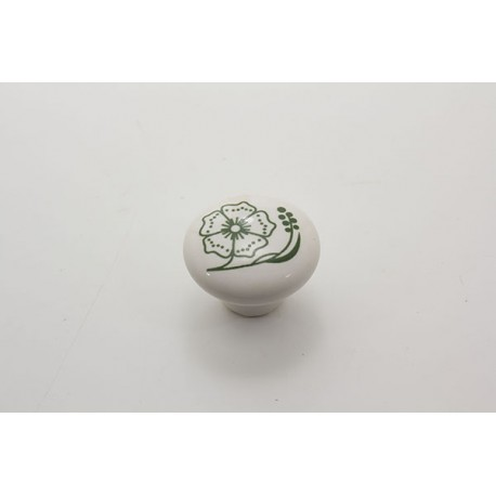 Mellem porcelænsknop med grøn blomst