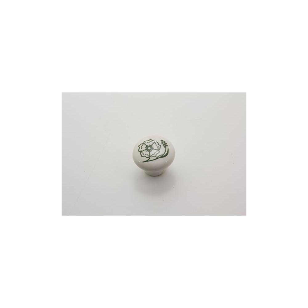 Lille porcelænsknop med grøn blomst.