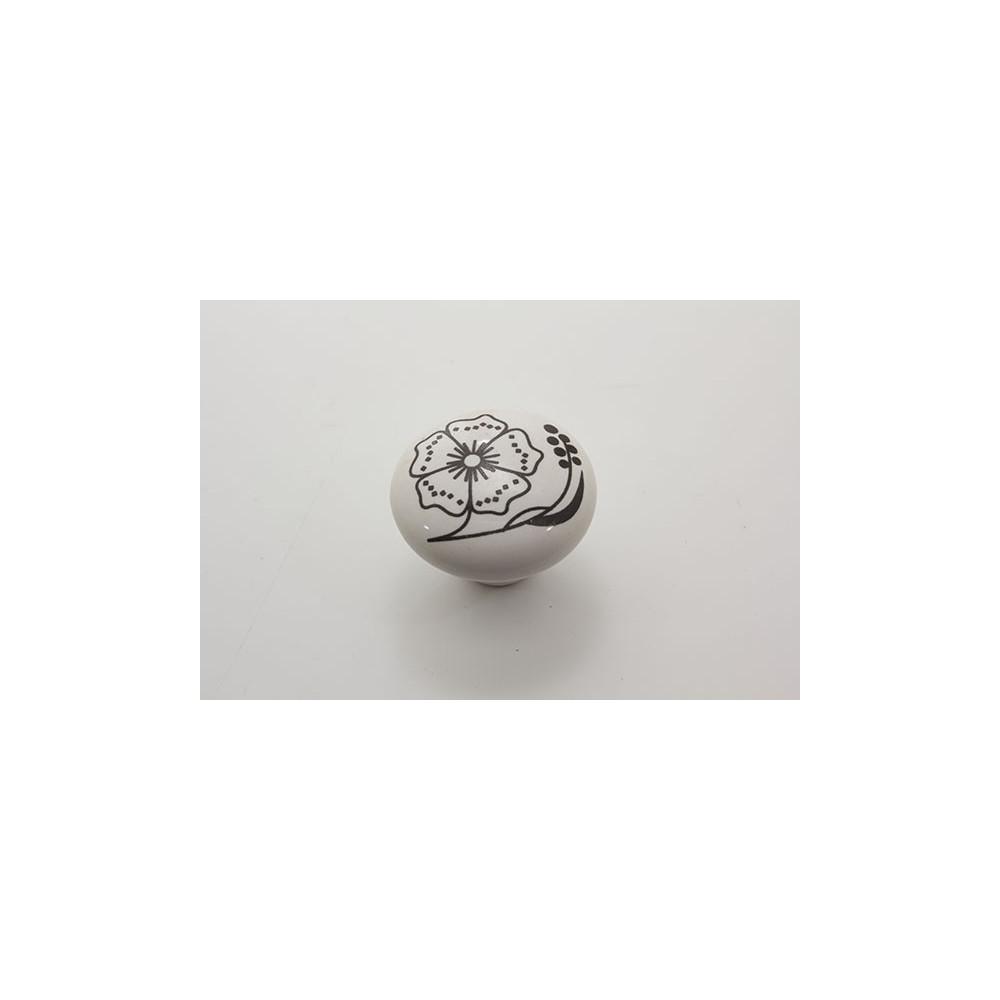 Stor porcelænsknop med sort blomst