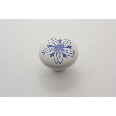 Porcelænsknop med stor blå blomst