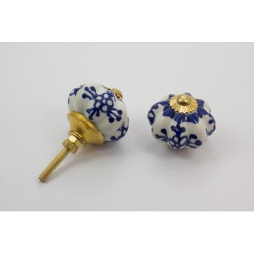 Porcelænsknop - kongeblå mønster - guld top