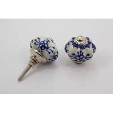 Porcelænsknop - kongeblå mønster - sølv top