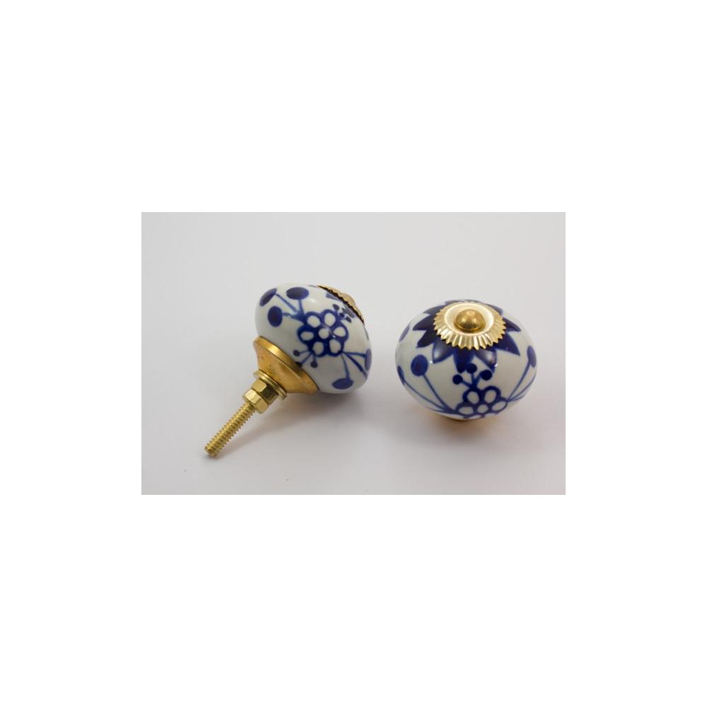 Stor rund porcelænsknop - kongeblå mønster - guld top