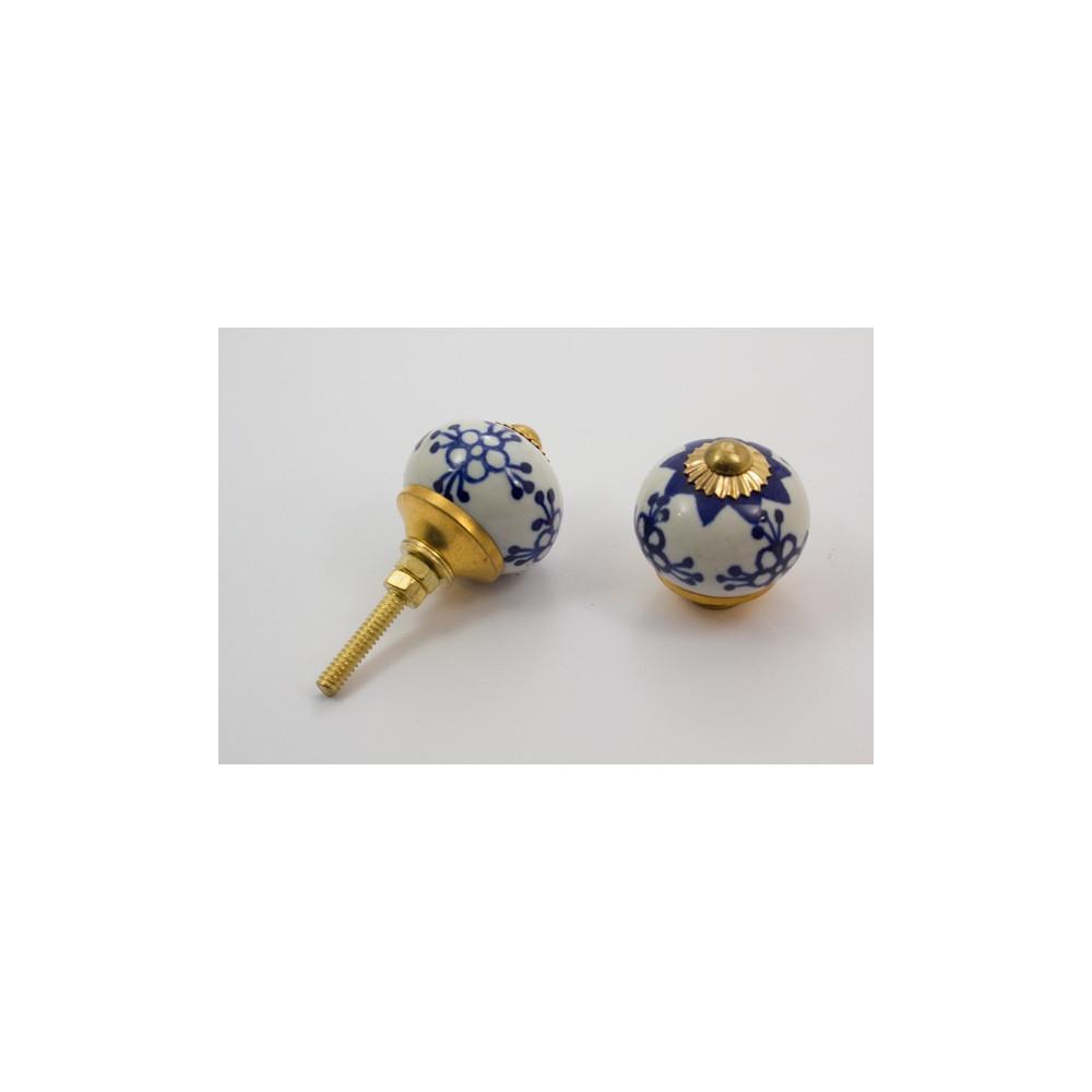 Rund porcelænsknop - kongeblå mønster - guld top