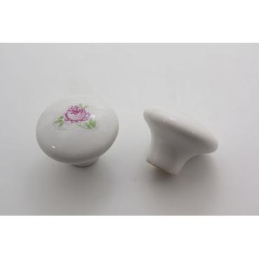 Hvid romantisk porcelænsknop med rose