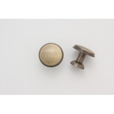 Knopgreb - antik børstet messing look - 24 mm