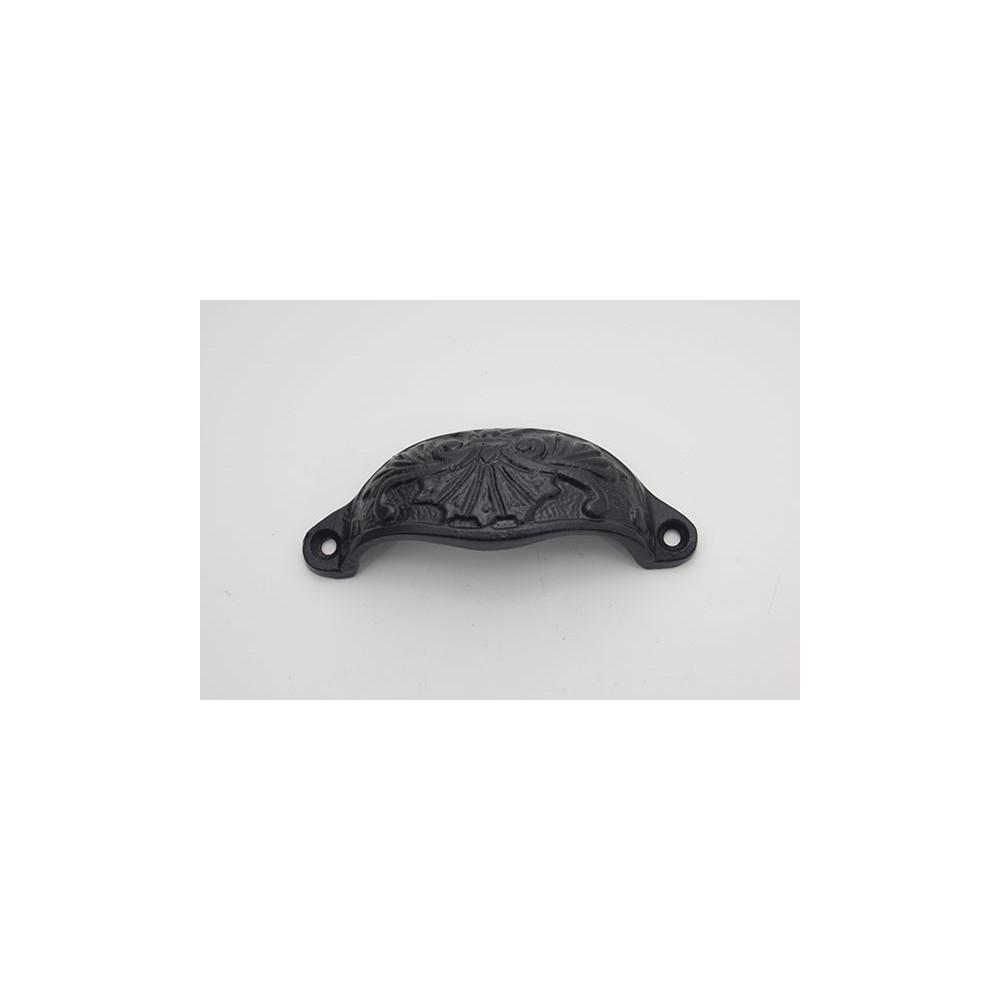 Skålegreb med mønster - sort støbejern