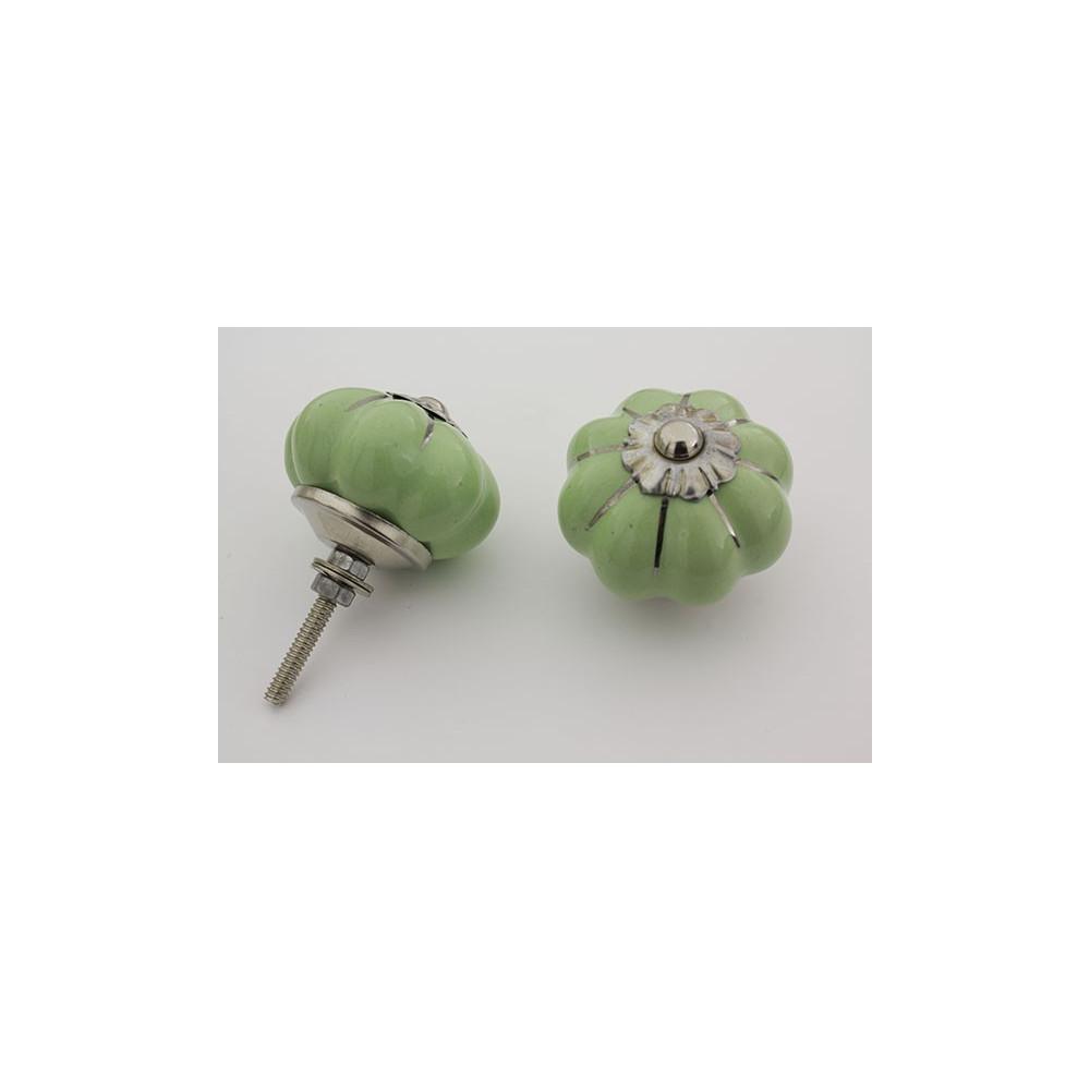 Mint grøn håndmalet porcelænsknop med sølv i riller