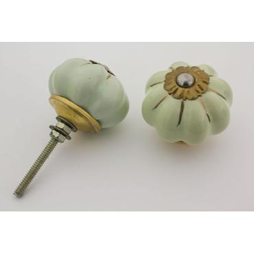 Mint grøn håndmalet porcelænsknop med guld i riller