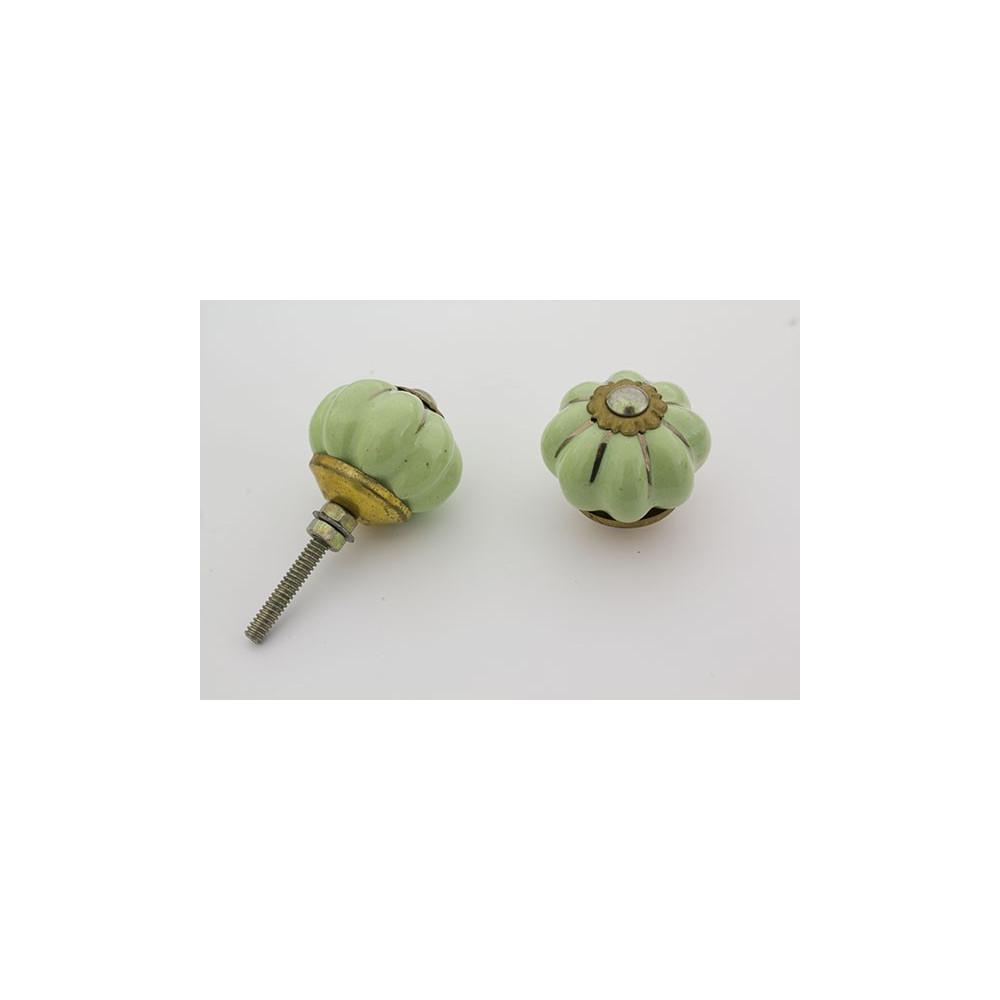 Lille mint grøn håndmalet porcelænsknop med guld i riller