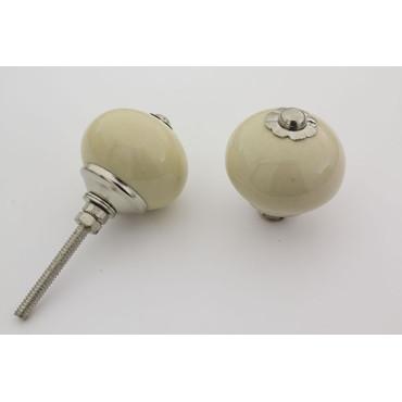 Beige rund håndmalet porcelænsknop med sølv top