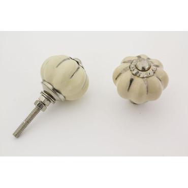 Lille mørk beige håndmalet porcelænsknop med sølv i riller