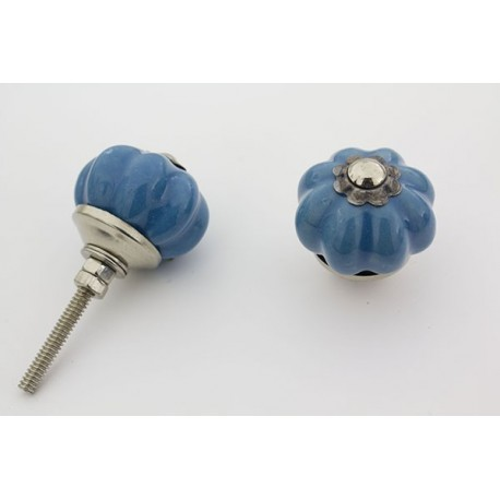 Lille blå håndmalet porcelænsknop med sølv top