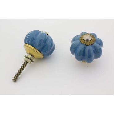 Lille blå håndmalet porcelænsknop med guld top