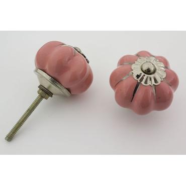 Pink håndlavet porcelænsknop med sølv i riller