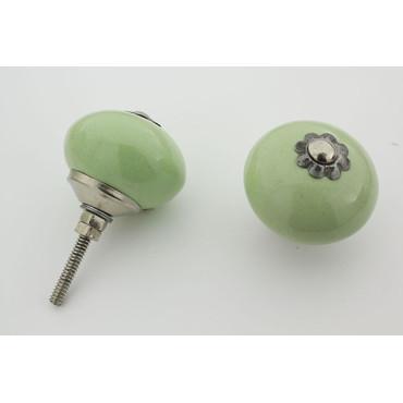 Mint grøn håndmalet porcelænsknop med sølv top