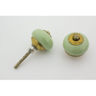 Lille mint grøn håndmalet porcelænsknop med guld top