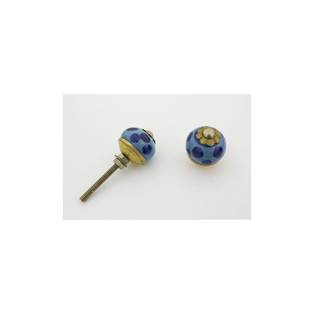 Lille blå håndmalet porcelænsknop i blå med prikker