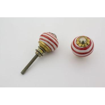 Lille hvid håndmalet porcelænsknop med røde striber