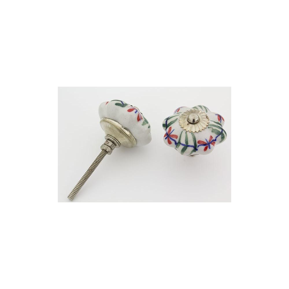 Hvid håndmalet porcelænsknop med mønster med sølv top