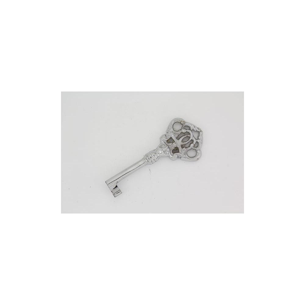 Møbelnøgle i messing - sølvlook