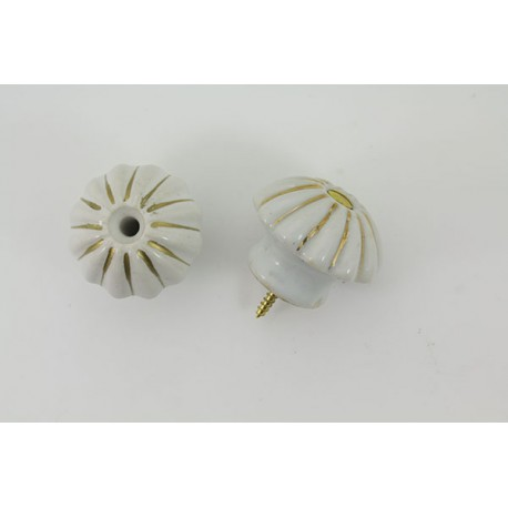 Håndlavet porcelænsknop med guld i riller