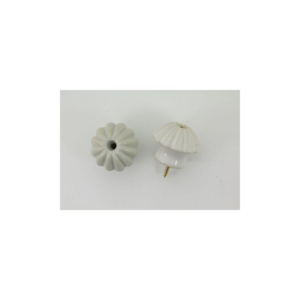 Håndlavet porcelænsknop med riller