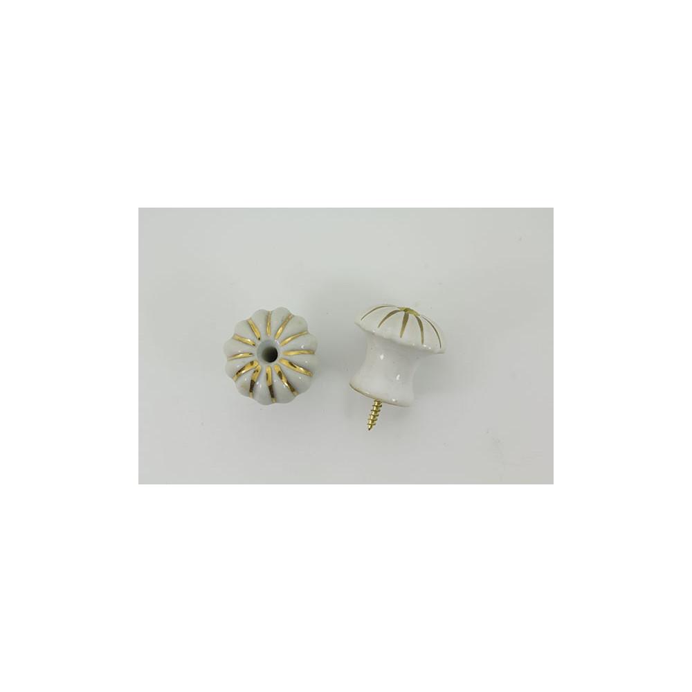 Stor håndlavet porcelænsknop med guld i riller
