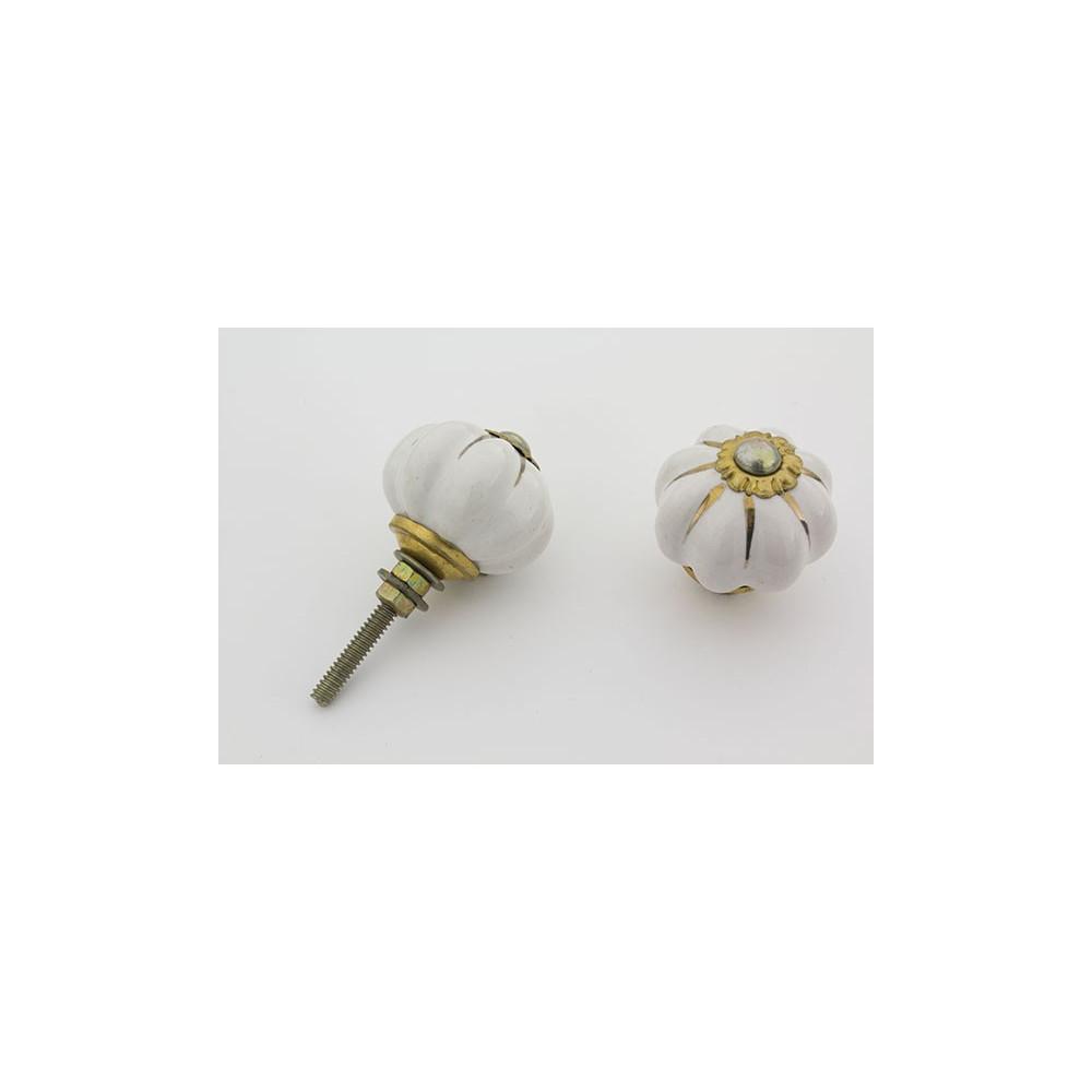 Lille hvid håndmalet porcelænsknop med guld i riller